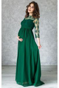 Изумрудное вечернее платье в пол для беременных фото