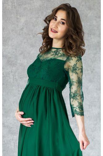 Изумрудное вечернее платье в пол для беременных в Киеве - Фото 2
