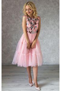Коктейльное платье с цветочным принтом и бантиками фото
