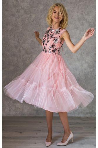 Коктейльное платье с цветочным принтом и бантиками в Киеве - Фото 4