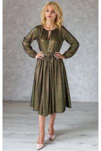 Коктейльное блестящее платье миди с рукавом фото