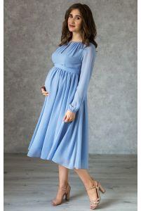 Коктейльное платье для беременных голубое фото