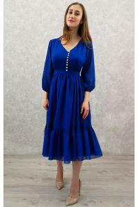 Коктейльное платье с пуговичками синее фото