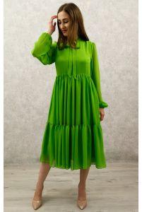 Коктейльное платье с рукавом фисташка фото