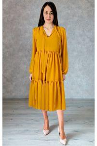 Коктейльное платье с рукавом горчица фото