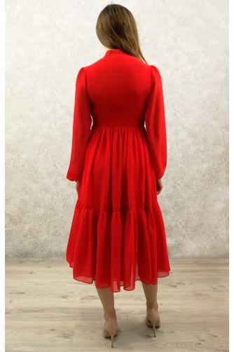 Коктейльное платье с рукавом красное в Киеве - Фото 2
