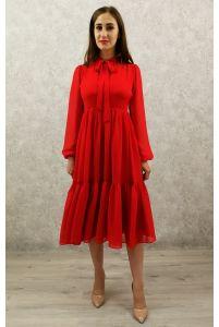 Коктейльное платье с рукавом красное фото