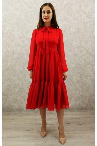 Коктейльное платье с рукавом красное в Киеве - Фото 1