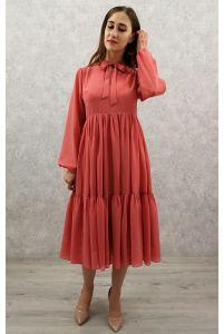 Коктейльное платье с рукавом лосось фото