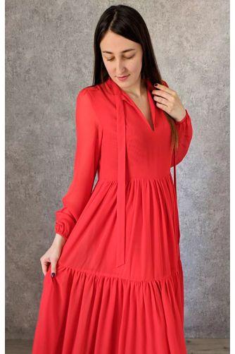 Красное платье в пол с рукавом в Киеве - Фото 2