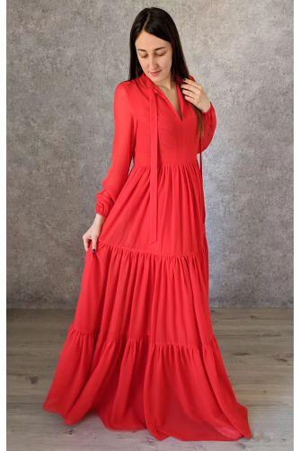 Красное платье в пол с рукавом в Киеве - Фото 1