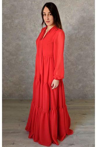 Красное платье в пол с рукавом в Киеве - Фото 3