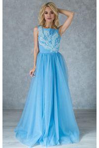 Небесно голубое вечернее платье с вышивкой фото