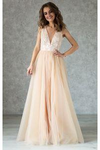 Нюдовое свадебное платье с кружевом айвори фото