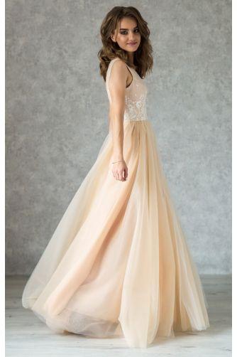 Нюдовое свадебное платье с кружевом айвори в Киеве - Фото 2