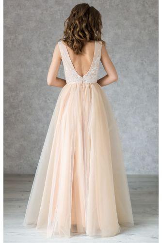 Нюдовое свадебное платье с кружевом айвори в Киеве - Фото 4