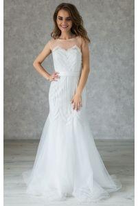 Платье свадебное А-силуэт расшитое бисером фото