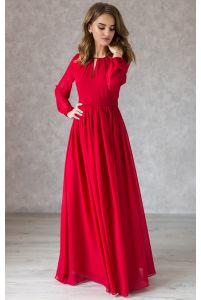 Платье в пол красное с длинным рукавом фото