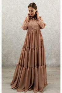 Платье в пол с рукавом какао фото