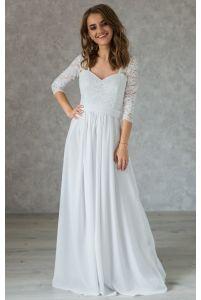 Простое свадебное платье с рукавом фото