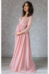 Пудровое платье в пол для беременных с запахом фото