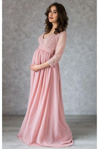 Пудровое платье в пол для беременных с запахом в Киеве - Фото 1