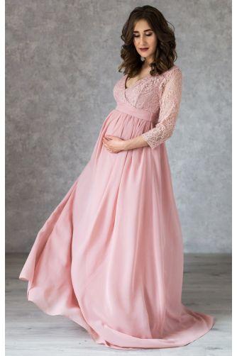 Пудровое платье в пол для беременных с запахом в Киеве - Фото 2