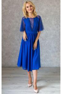 Синее коктейльное платье с декольте в горошек фото