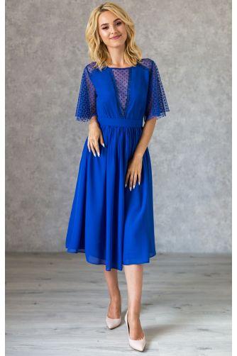 Синее коктейльное платье с декольте в горошек в Киеве - Фото 1