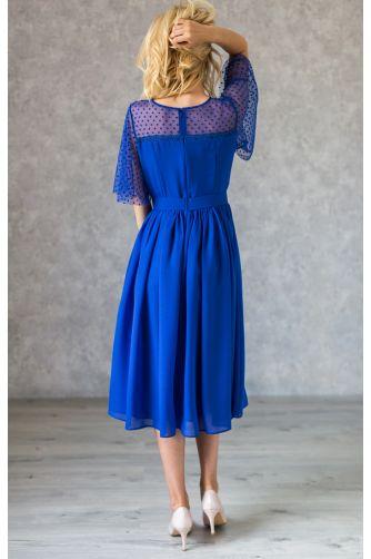 Синее коктейльное платье с декольте в горошек в Киеве - Фото 3