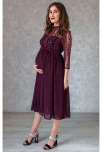 Стильное платье для беременных длины миди марсала фото