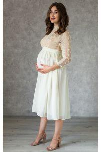 Стильное платье для беременных длины миди молочное фото