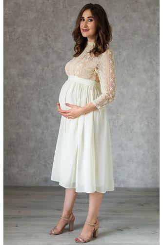 Стильное платье для беременных длины миди молочное в Киеве - Фото 1