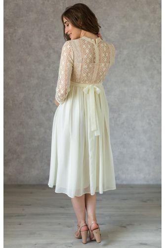 Стильное платье для беременных длины миди молочное в Киеве - Фото 3