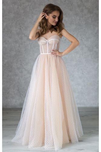 Свадебное платье в горошек на корсете в Киеве - Фото 1