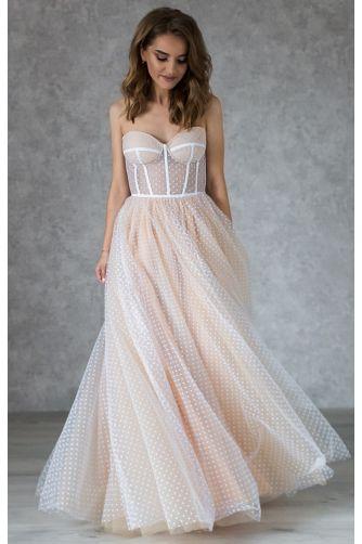 Свадебное платье в горошек на корсете в Киеве - Фото 2