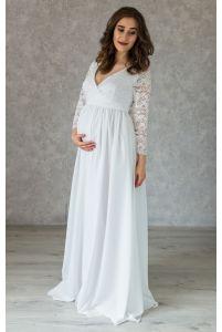 Свадебное платье в пол для беременных с запахом фото
