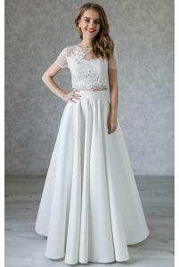 Свадебный расшитый топ и юбка солнце из атласа фото