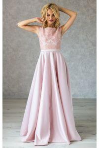 Вечернее атласное платье с пайетками пудра фото