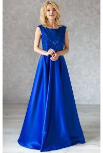 Вечернее атласное платье с паетками ярко синее фото