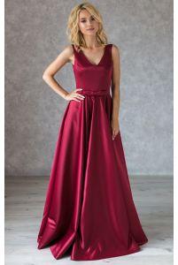 Вечернее атласное платье в пол марсала фото