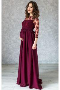 Вечернее длинное винное платье для беременных фото