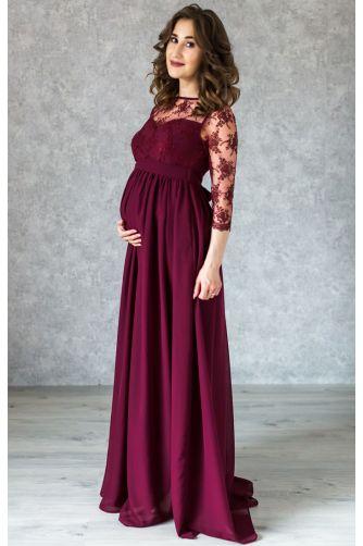 Вечернее длинное винное платье для беременных в Киеве - Фото 1