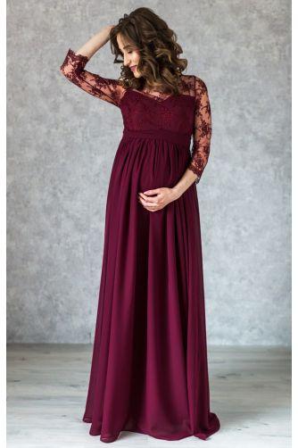 Вечернее длинное винное платье для беременных в Киеве - Фото 2