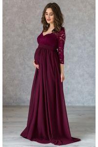 Вечернее платье марсала для беременных с рукавом 3/4 фото