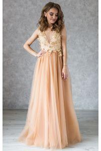 Вечернее платье с открытой спинкой золотое фото