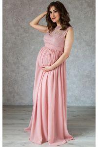 Вечернее платье в пол для беременных пудровое фото