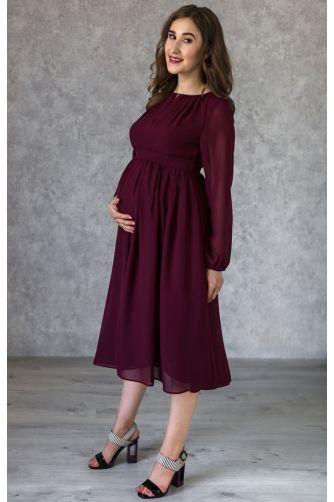 Винное коктейльное платье для беременных в Киеве - Фото 1