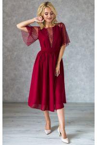 Винное коктейльное платье с декольте фото