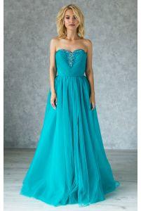 Воздушное вечернее платье бирюзовое с камнями фото